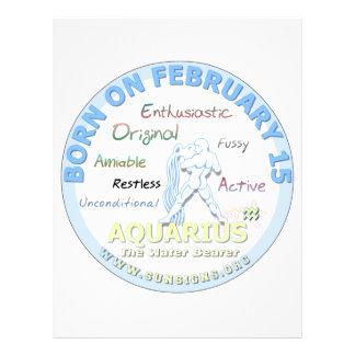 February 15th Birthday - Aquarius Custom Letterhead