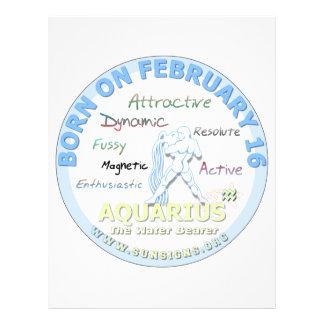 February 16th Birthday - Aquarius Customized Letterhead