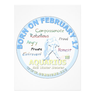 February 17th Birthday - Aquarius Customized Letterhead