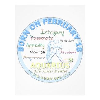 February 18th Birthday - Aquarius Letterhead Design
