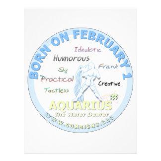 February 1st Birthday - Aquarius Letterhead