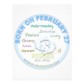 February 27th Birthday - Pisces Personalized Letterhead