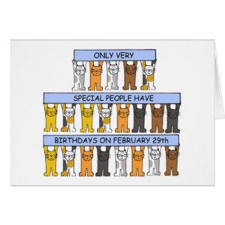 February 29th Birthday Cats Card