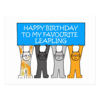 February 29th Birthday (UK spelling of favourite) Postcard