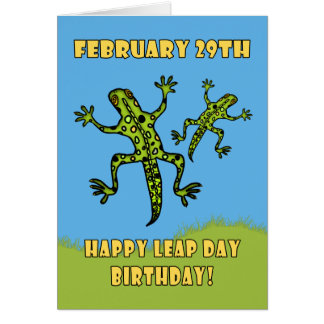 February 29th, Leap Day Birthday Card, Lizards Card
