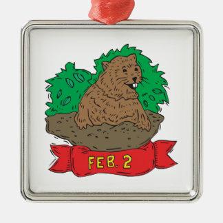 February 2nd metal ornament