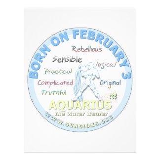 February 3rd Birthday - Aquarius Letterhead