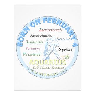 February 4th Birthday - Aquarius Letterhead Design