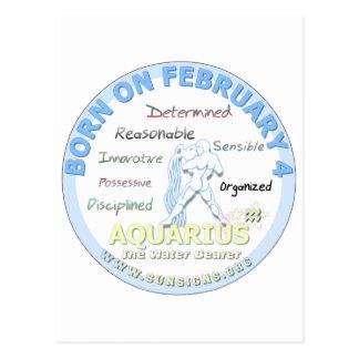 February 4th Birthday - Aquarius Postcard