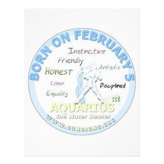 February 5th Birthday - Aquarius Personalized Letterhead
