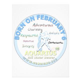February 6th Birthday - Aquarius Letterhead