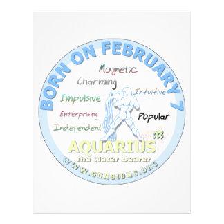 February 7th Birthday - Aquarius Letterhead