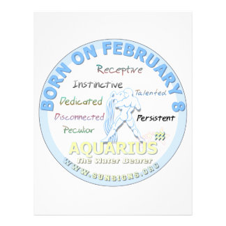 February 8th Birthday - Aquarius Letterhead Design