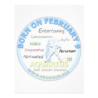 February 9th Birthday - Aquarius Customized Letterhead
