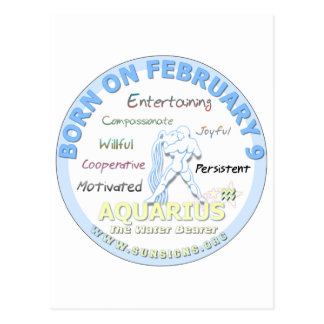 February 9th Birthday - Aquarius Post Card