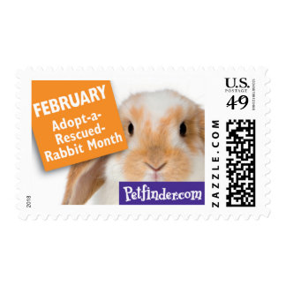 FEBRUARY - Adopt-a-Rescued-Rabbit Month Postage Stamp