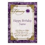 February Amethyst Birthstone Birthday Card