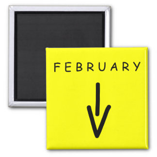 February Arrow Yellow Square Magnet by Janz