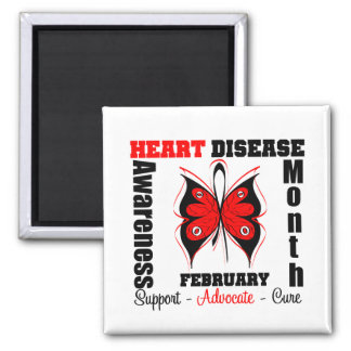 February Awareness Month - Butterfly Heart Disease 2 Inch Square Magnet