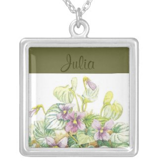 FEBRUARY Birth Flower - Violets Necklace