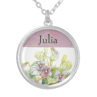FEBRUARY Birth Flower - Violets Necklace Pendant