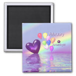 February Birthday Amethyst Heart 2 Inch Square Magnet