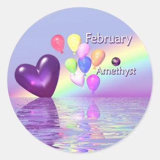 February Birthday Amethyst Heart Classic Round Sticker