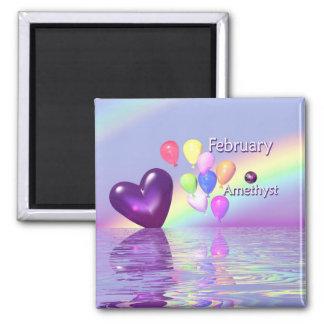 February Birthday Amethyst Heart Magnet