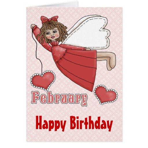 February birthday angel greeting card zazzle