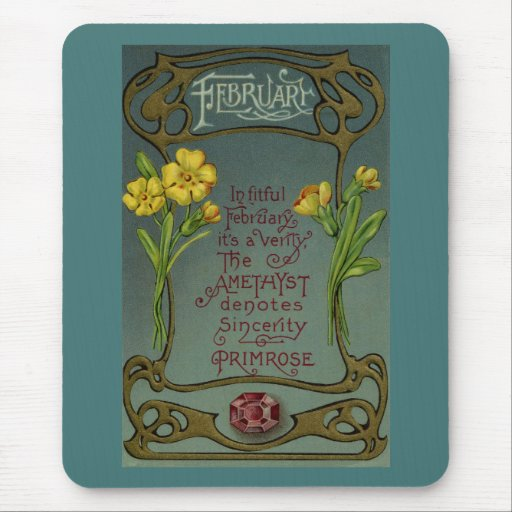February Birthday Primrose & Amethyst Mouse Pad