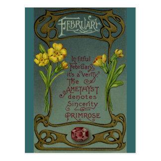 February Birthday Primrose & Amethyst Post Card