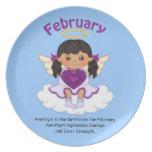 February Birthstone Angel Black Party Plate