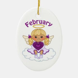 February Birthstone Angel Blonde Ceramic Ornament
