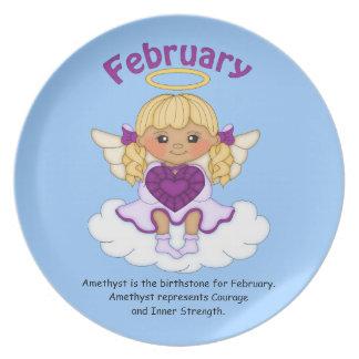 February Birthstone Angel Blonde Melamine Plate