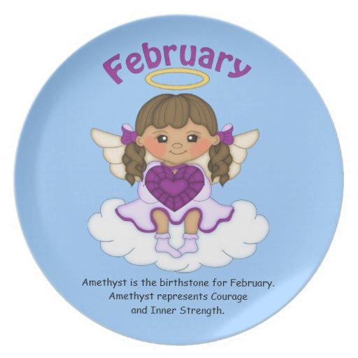 February Birthstone Angel Brunette Dinner Plate