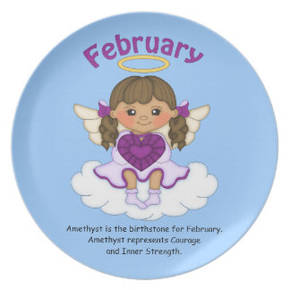 February Birthstone Angel Brunette Plate