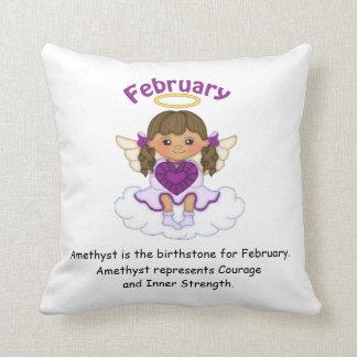February Birthstone Angel Brunette Throw Pillow