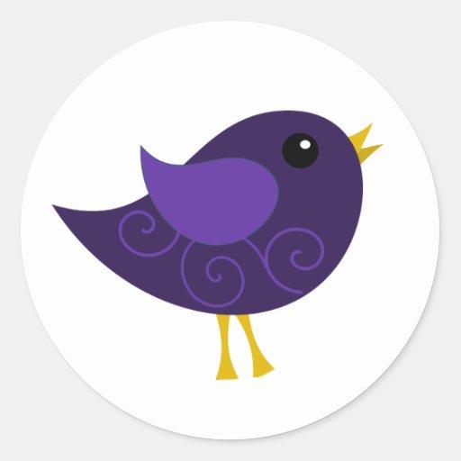 February Birthstone Bird Classic Round Sticker