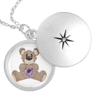 February birthstone heart teddy bear locket