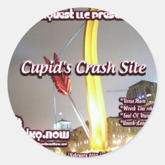 February - Cupids Crash Site Round Sticker