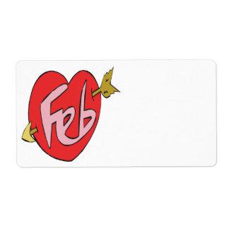 February Heart Label