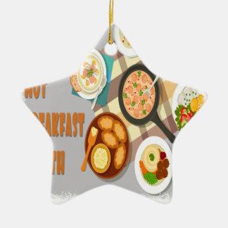 February - Hot Breakfast Month - Appreciation Day Ceramic Ornament