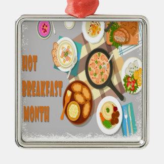 February - Hot Breakfast Month - Appreciation Day Metal Ornament