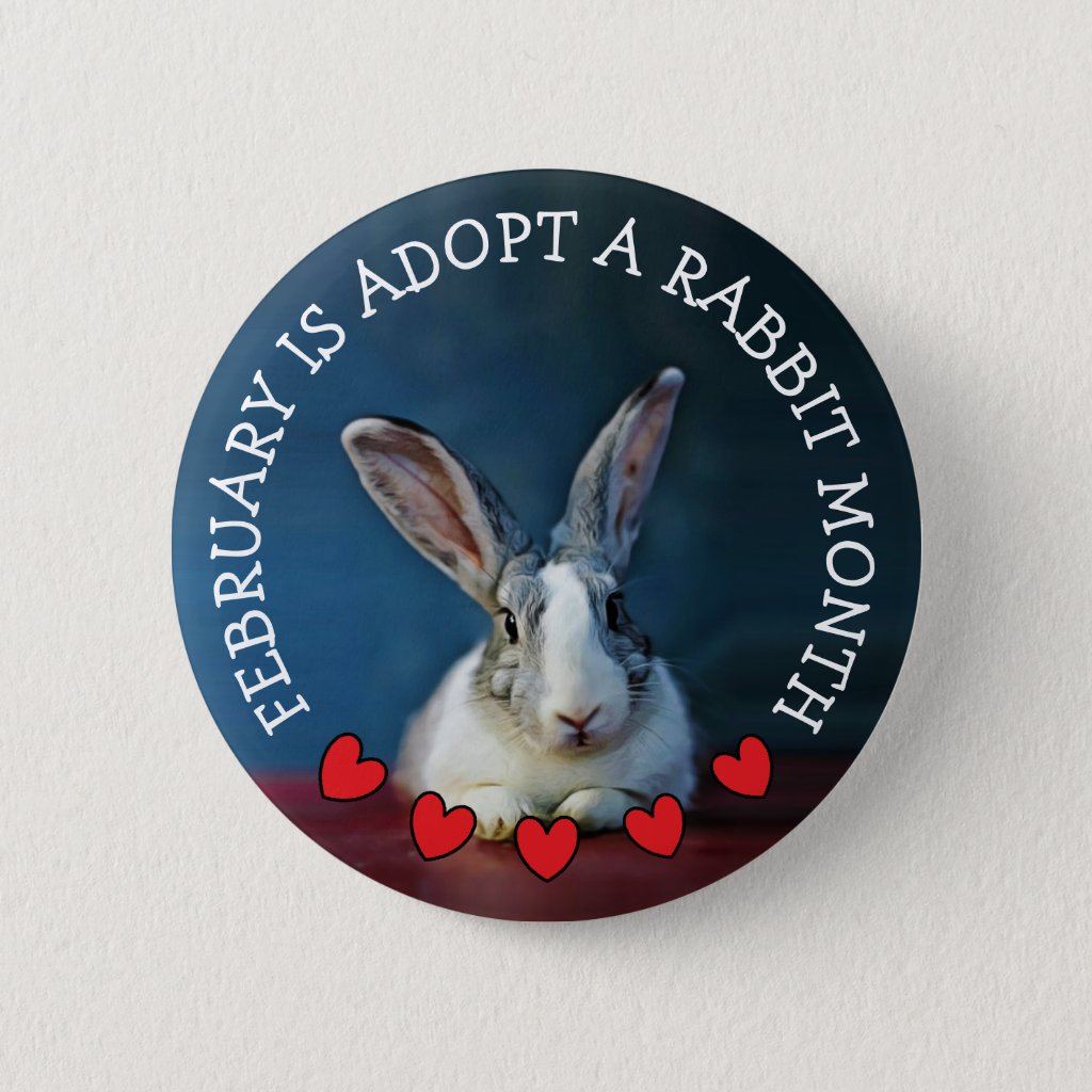 February is Adopt a Rabbit Month Button