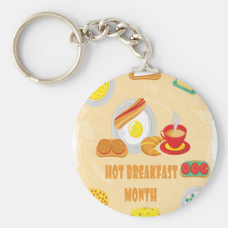 February is Hot Breakfast Month - Appreciation Day Keychain