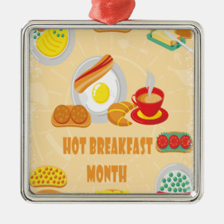 February is Hot Breakfast Month - Appreciation Day Metal Ornament