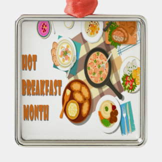 February is Hot Breakfast Month Metal Ornament