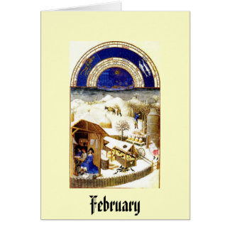 February - Les Tres Riches Heures du Duc de Berry Stationery Note Card