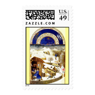 February - Les Tres Riches Heures du Duc de Berry Postage Stamps