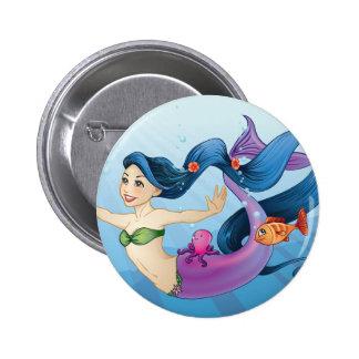 February Mermaid 2 Inch Round Button